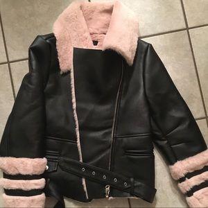 Missguided Petite Faux fur faux leather coat